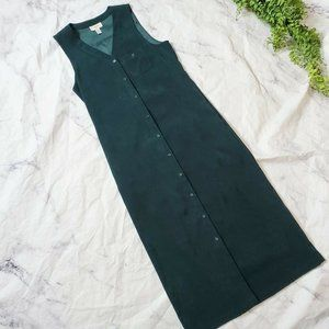 Talbots Forest Green Faux Suede V-Neck Maxi Dress